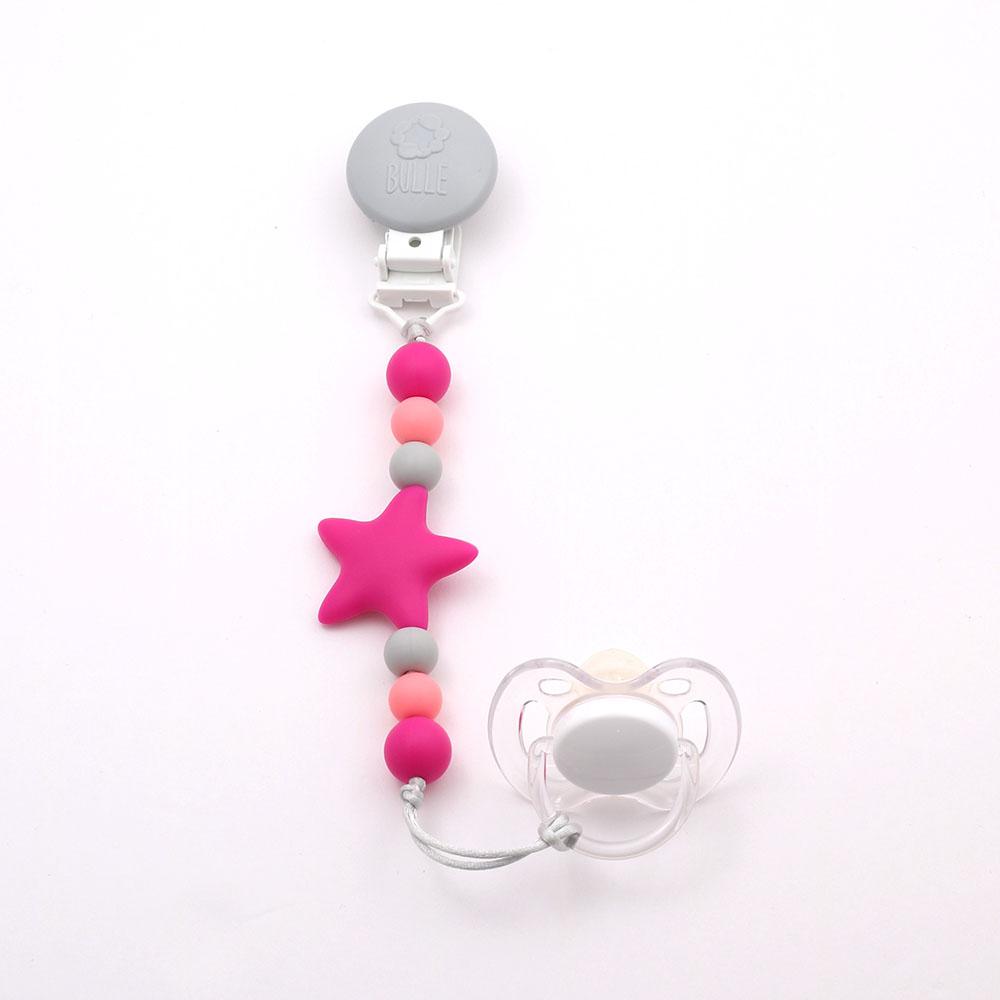 Bulle bijouterie Attache-suce étoile nano fuchsia, gris pâle et rose