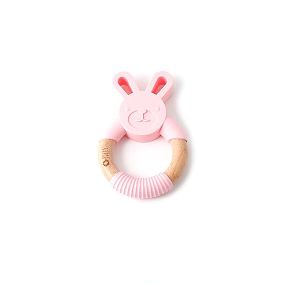 Bulle bijouterie Hochet en bois animal lapin rose