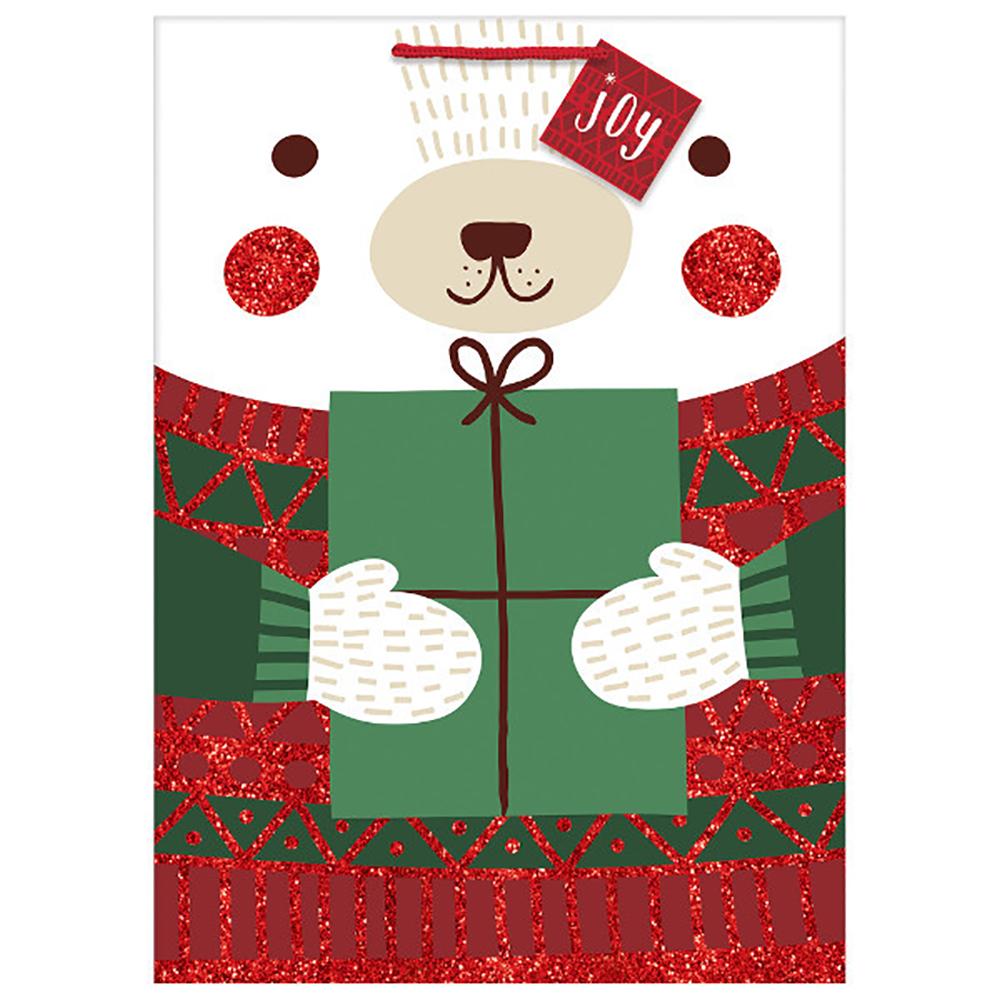 Sac cadeau de Noël - Ours d'hiver brillant