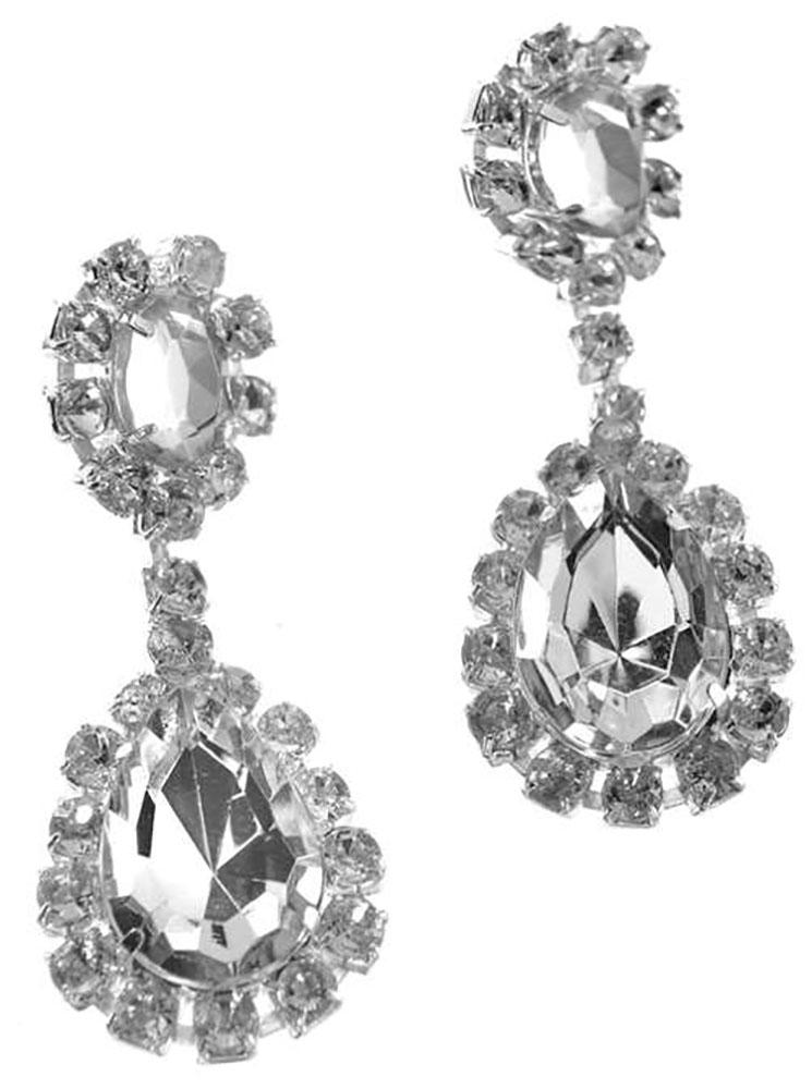 Boucle d'oreille en faux diamant