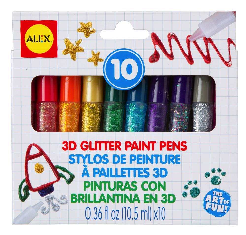 10 3D Glitter Paint Pens