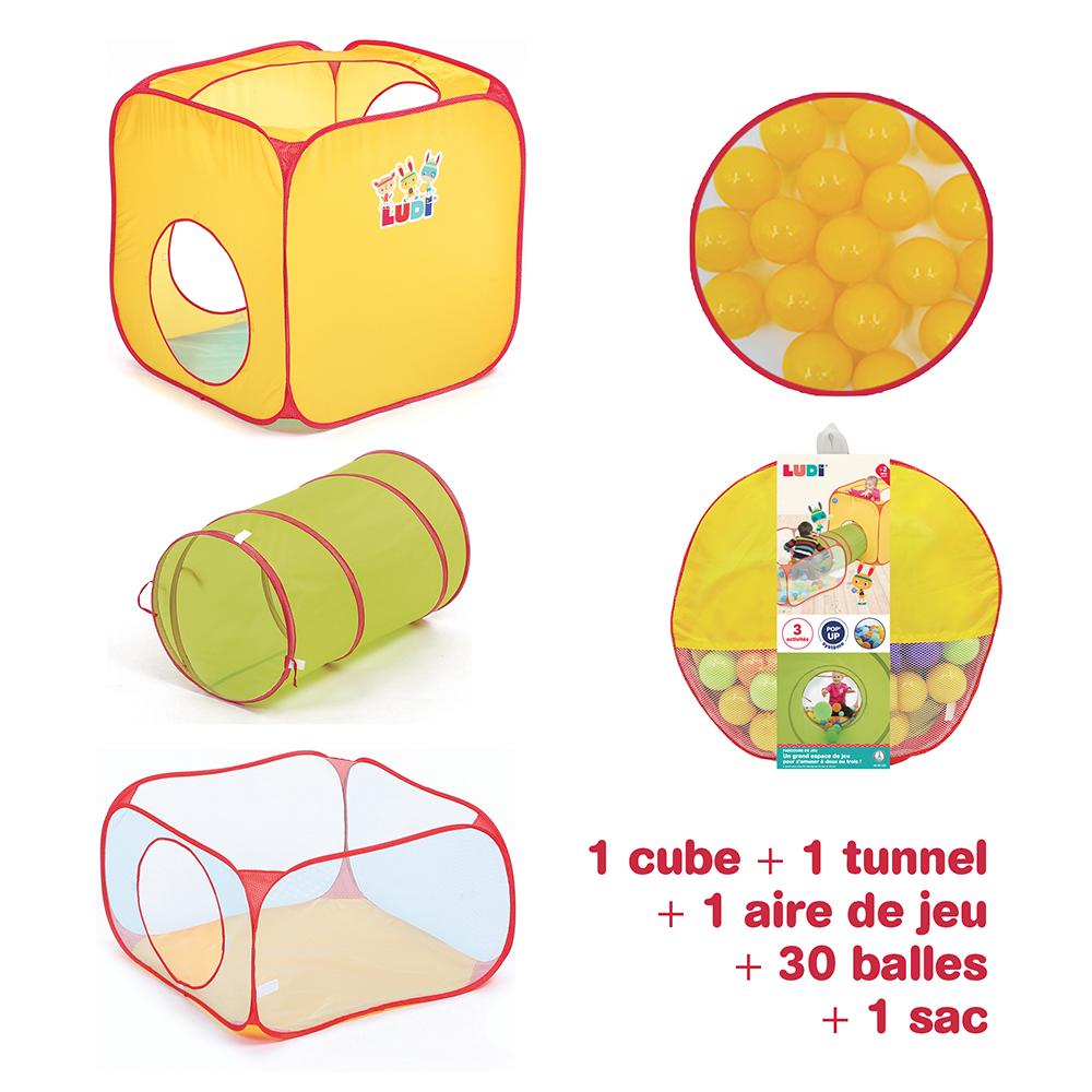 LUDI - Parcours de jeu Pop-up avec 30 balles
