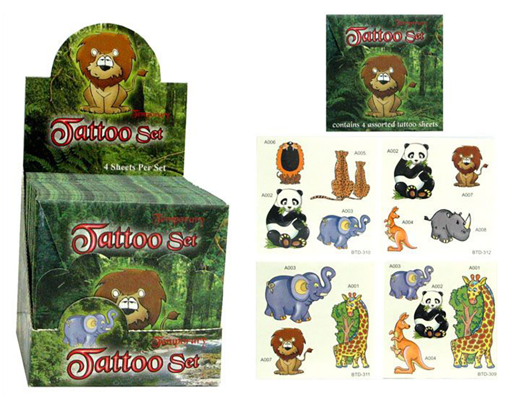 Tattoos animaux sauvages - 4 feuilles