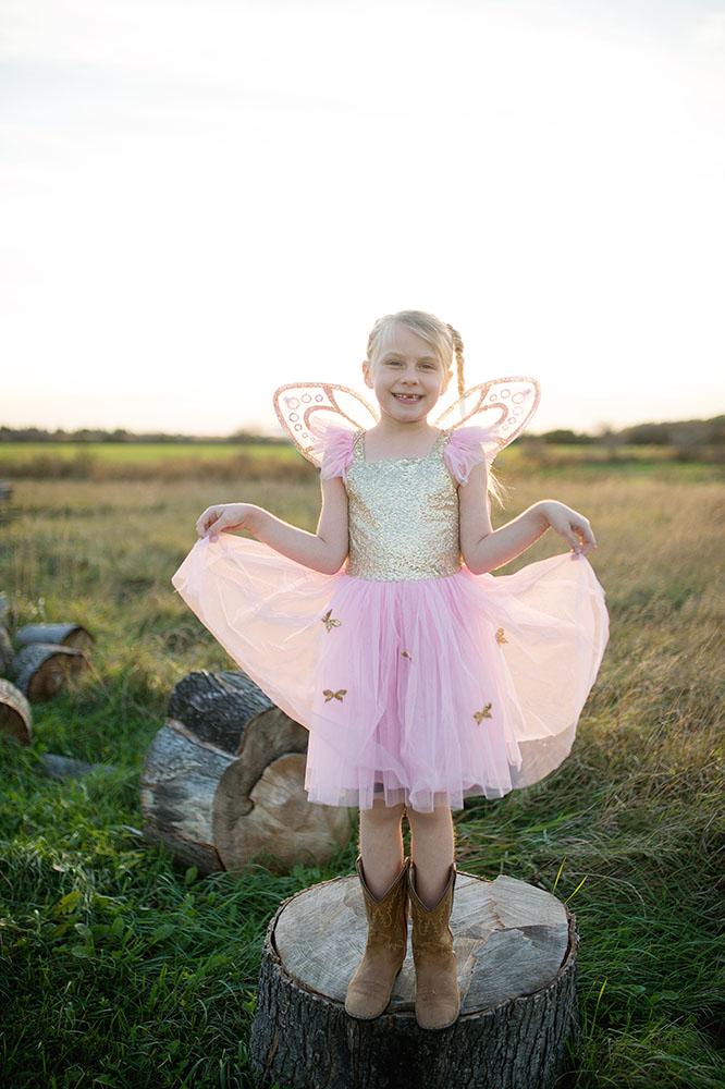 Robe et ailes - Papillon doré et rose