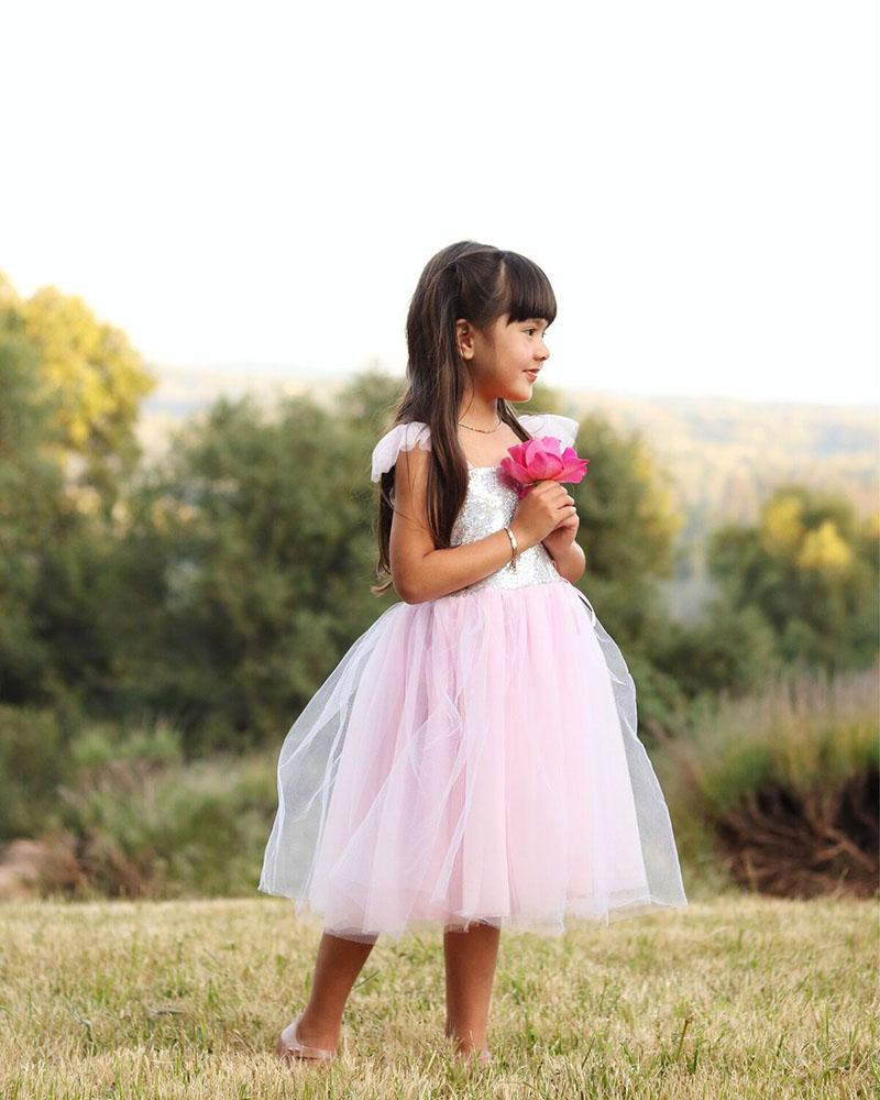 Robe de princesse - Paillettes argentées 5-6