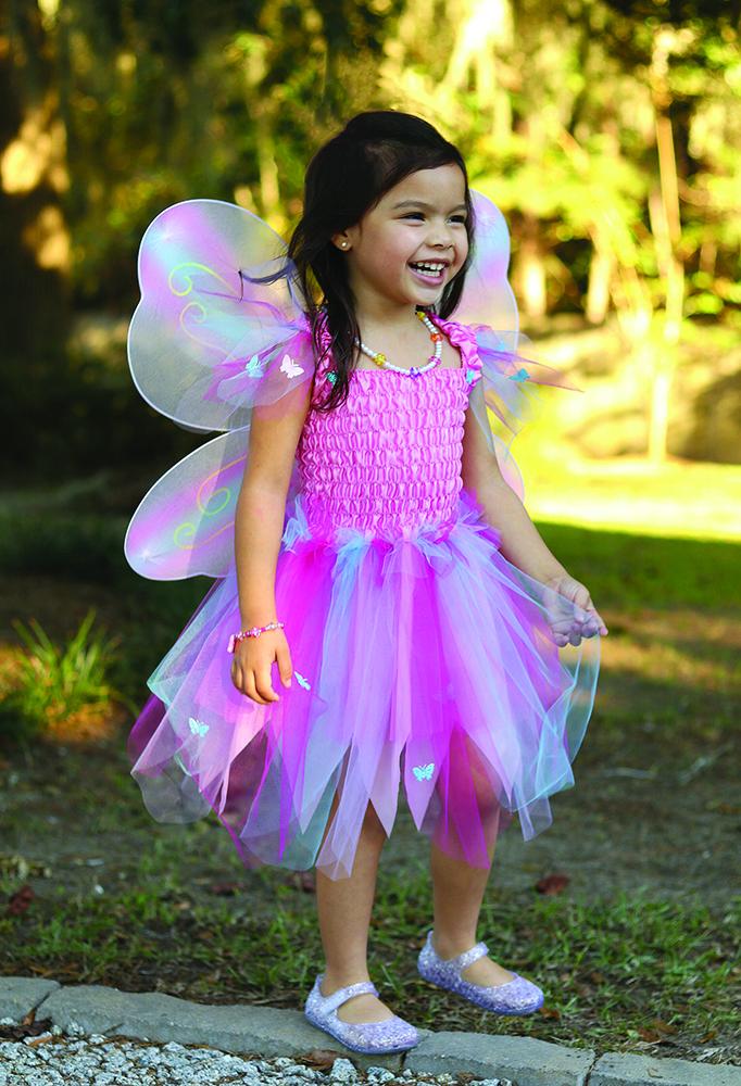 Robe papillon avec ailes et baguette Rose multi pastel