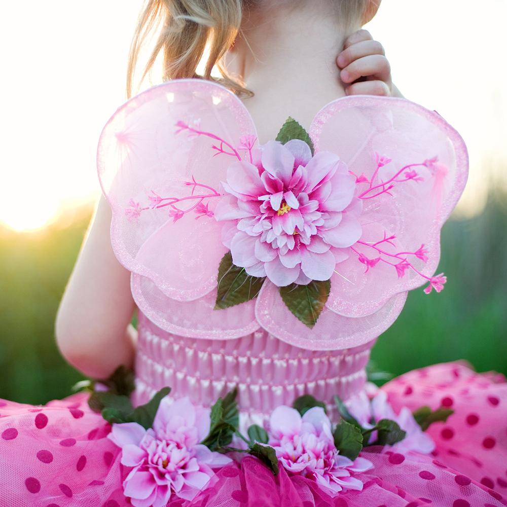 Robe de fée rose de luxe avec ailes 3T-4T