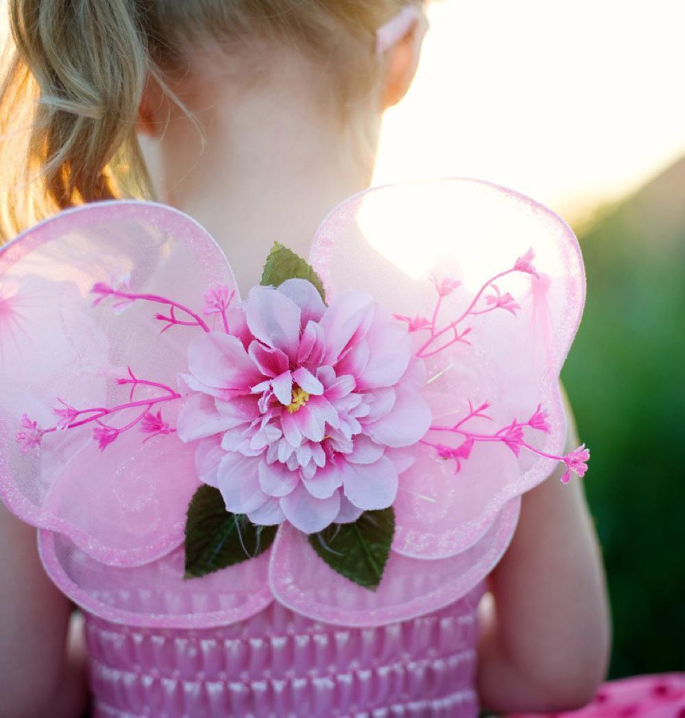 Robe de fée de luxe rose avec ailes 5-6