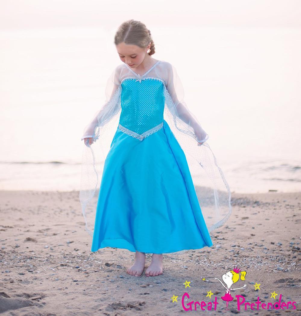Robe Reine de glace argent et bleu 3-4