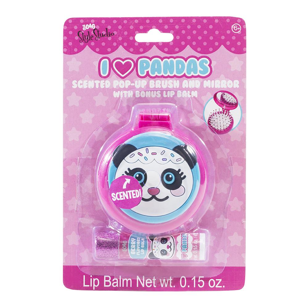 3C4G- Brosse à cheveux et miroir compact Panda