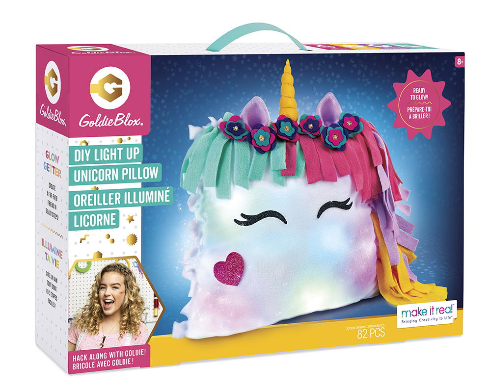 Make it real Goldie Blox Oreiller illuminé Licorne