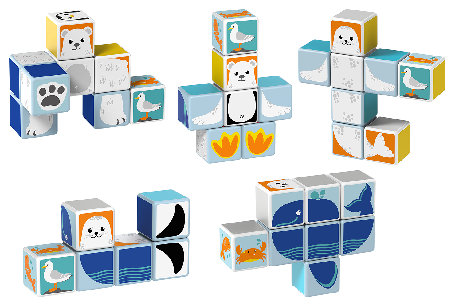 Geomag - Cube magnétique Animaux polaire 10 pièces