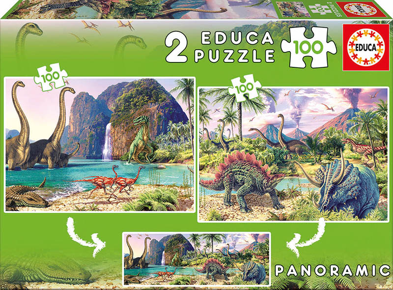 Casse-têtes 2 x 100 pièces Monde des Dinosaures