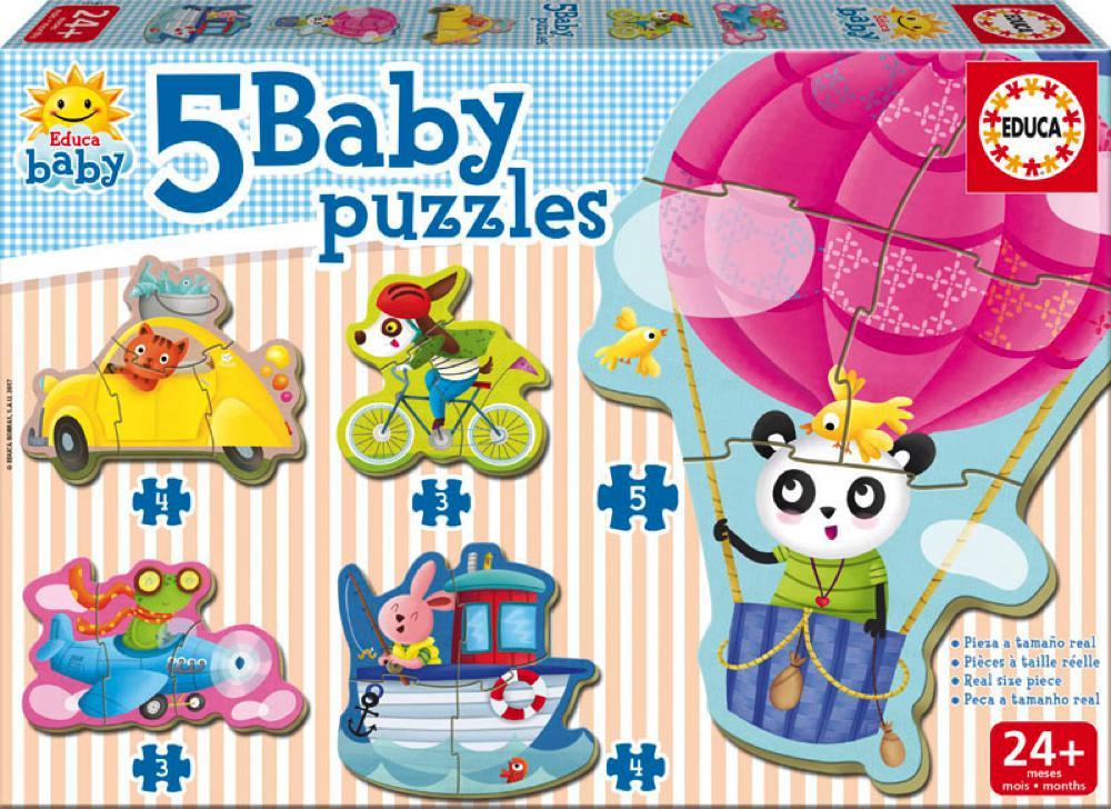 5 Casse-têtes bébé - Animaux sur roues