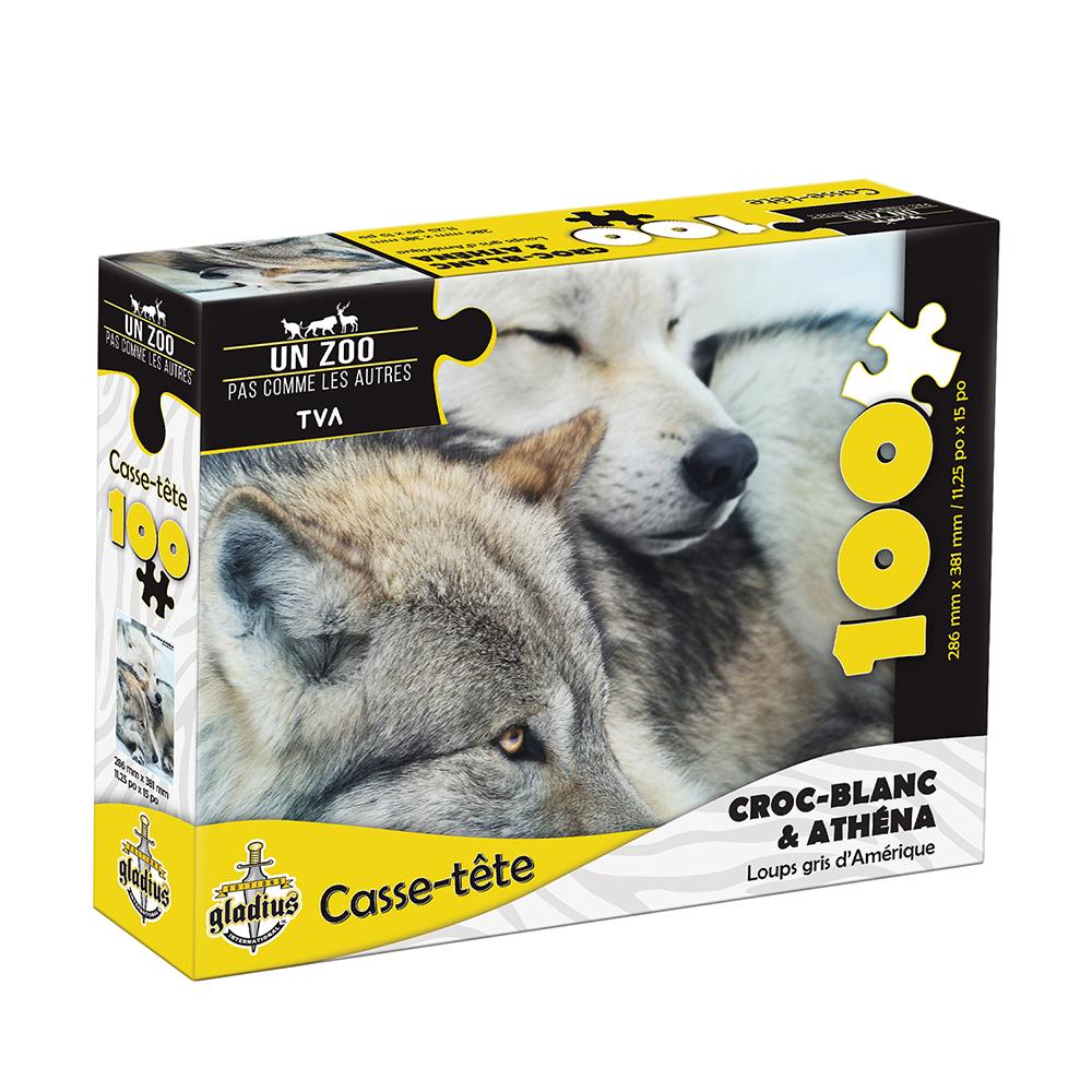 Casse-tête 100 pièces - Miller Zoo- Loup gris Croc-blanc et Athéna