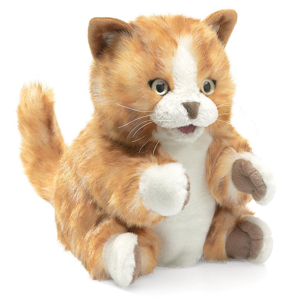 Marionnette - Chat tigré roux 20 cm