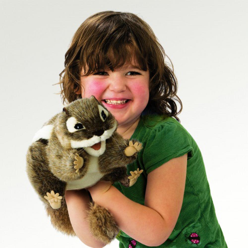 Marionnette Tamia rayé 18 cm