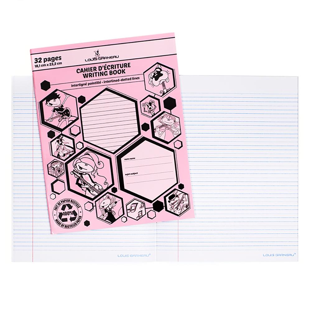 Petit cahier d'excercices interligné pointillés rose