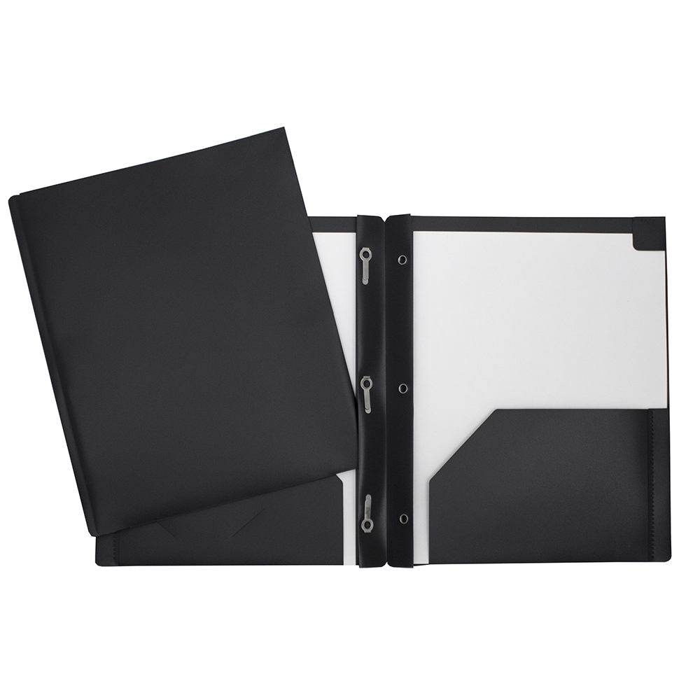 Portfolio de plastique avec attaches et pochettes noir