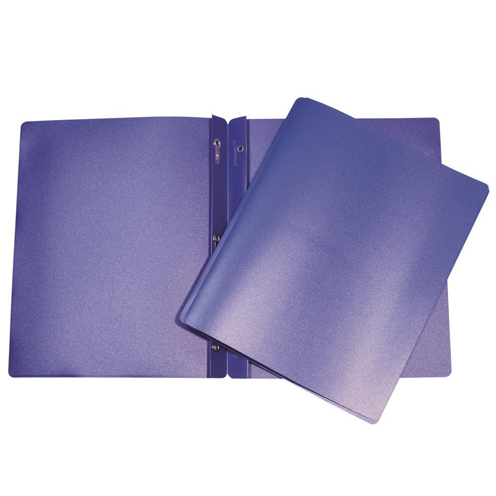 Duo-tang en plastique avec attaches bleu