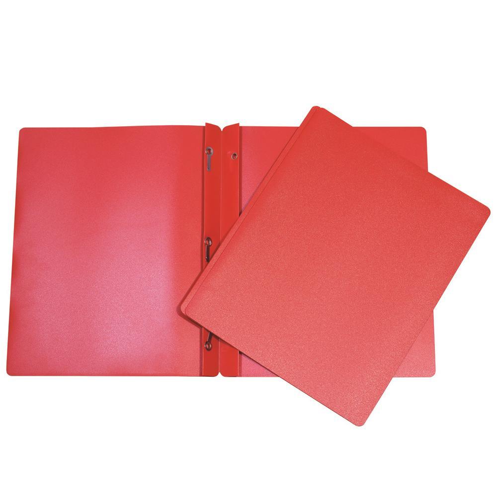 Duo-tang de plastique avec attaches rouge