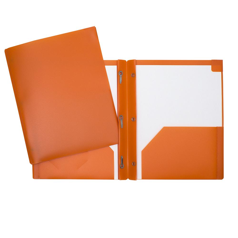 Portfolio de plastique avec attaches et pochettes orange