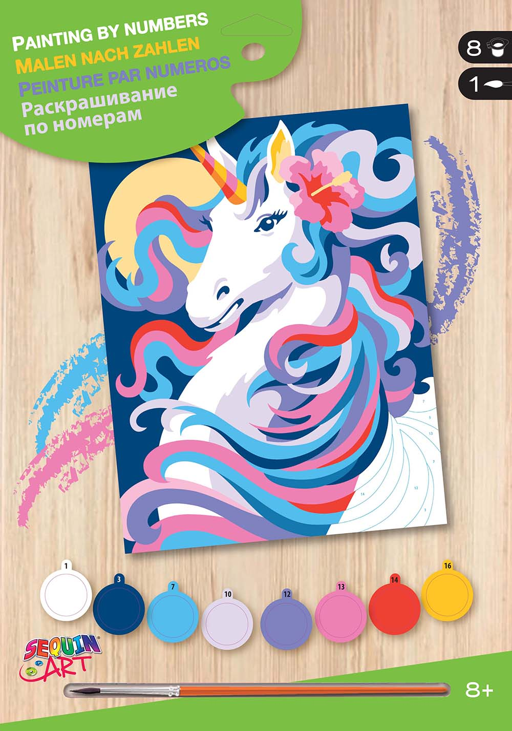 Peinture à numéros junior - Licorne au clair de lune