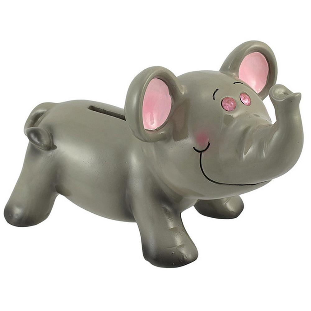 Tirelire Éléphant avec yeux en bijou 7 pouces