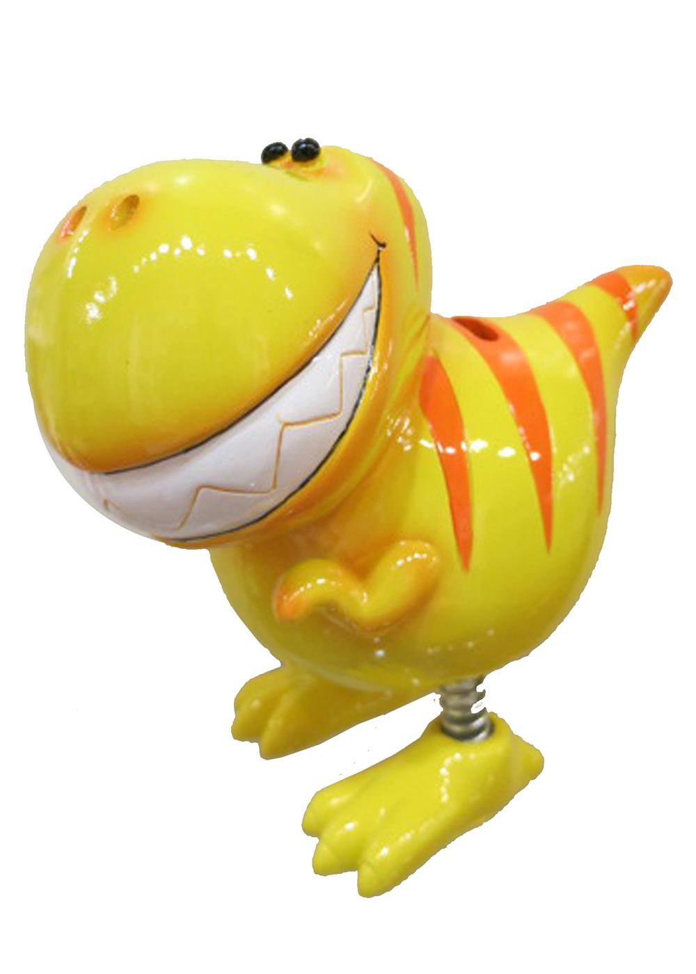 Tirelire Dinosaure jaune avec jambes à ressorts 7 pouces