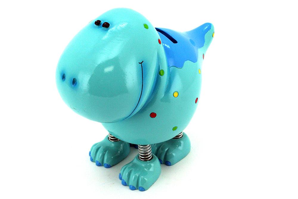 Tirelire Dinosaure bleu avec jambes à ressorts 7 pouces