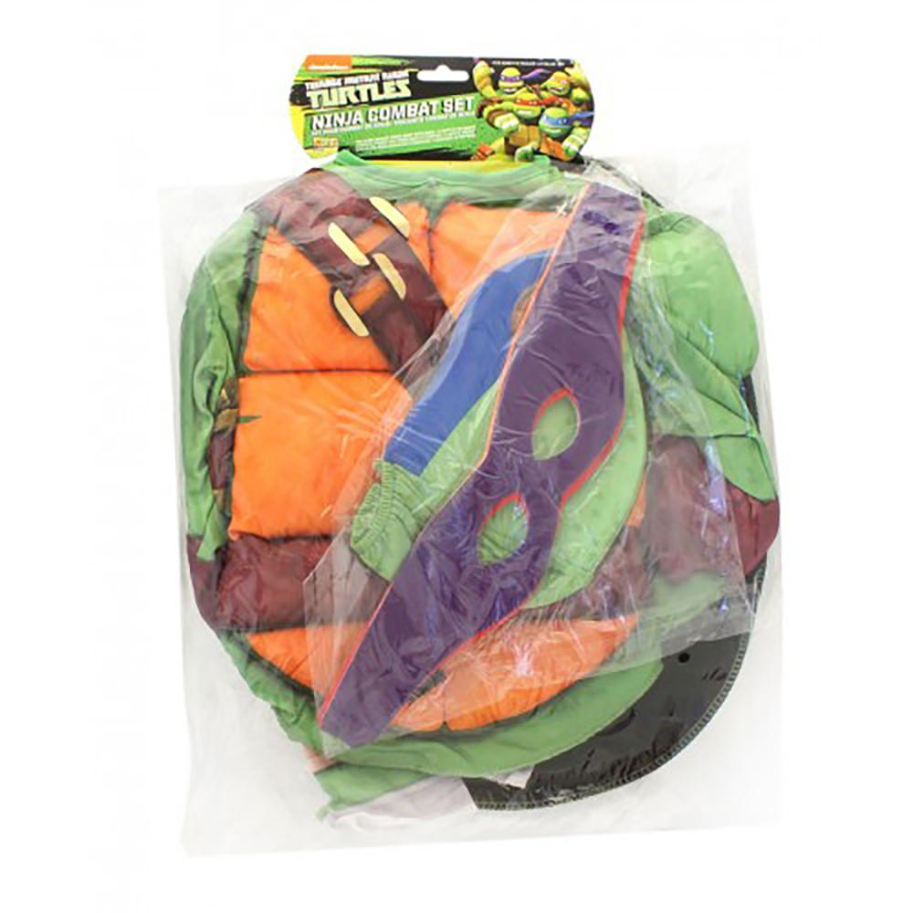 Costume Plastron et 4 Masques Ninja Turtle 4-6 ans