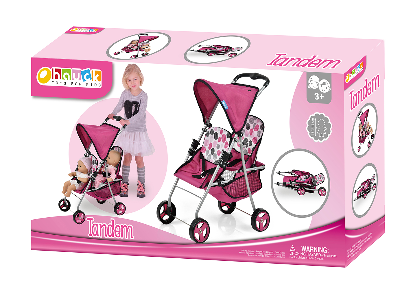 Pink Dot - Poussette double Tandem pour poupées