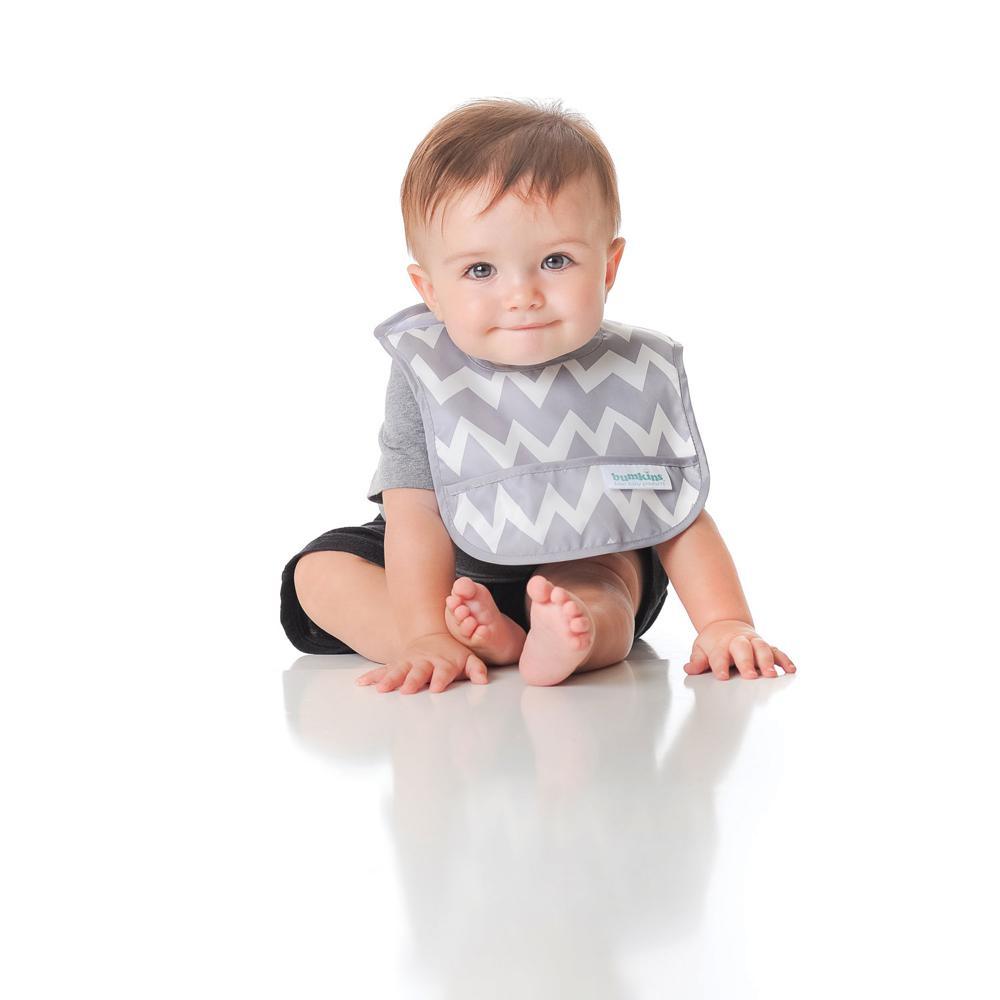 Bumkins Bavette 6 à 24 mois chevrons gris