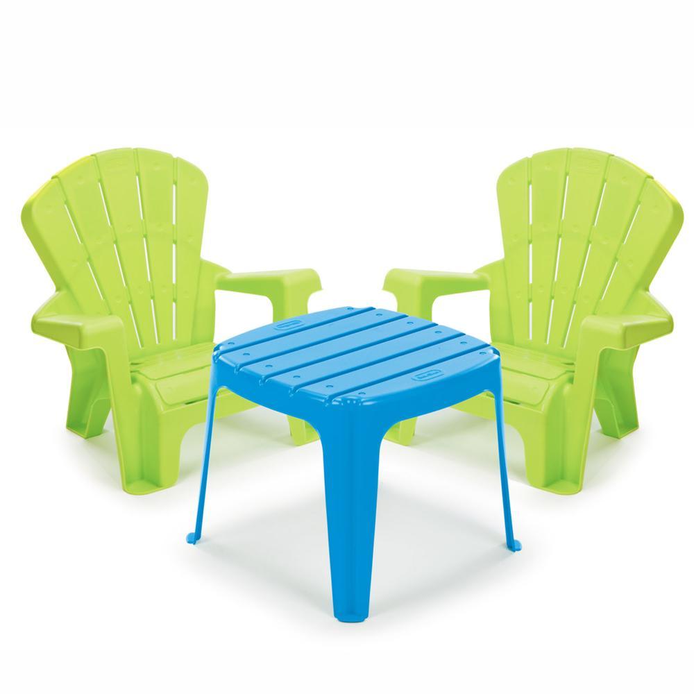 Little Tikes Ensemble Table Et Chaises De Jardin Bleu Et Vert  # Table De Jardin Jouet Club