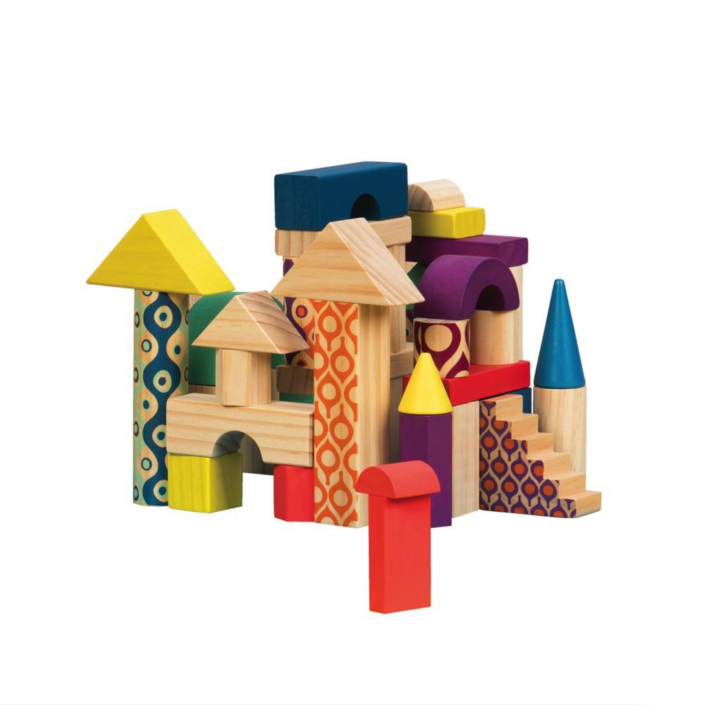 B.Woody - Blocs de bois Wood U Build It 40 pièces