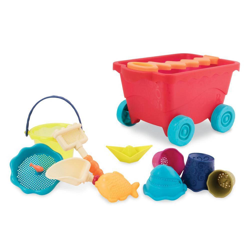B. Active - Chariot de plage rouge clair et accessoires
