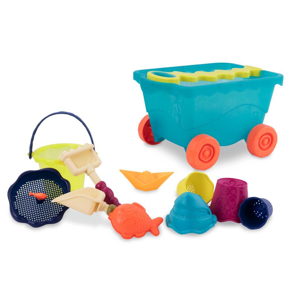 B. Active - Chariot de plage bleu clair et accessoires