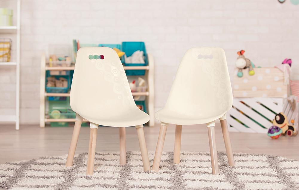 B. Spaces - Chaises de couleur ivoire Ensemble de 2