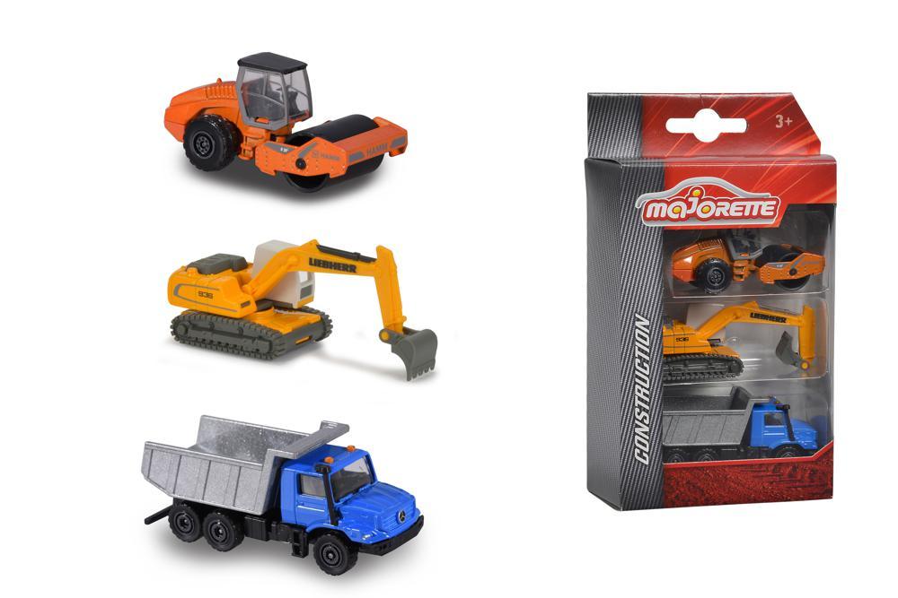 Majorette - Ensemble de 3 véhicules de construction assortis