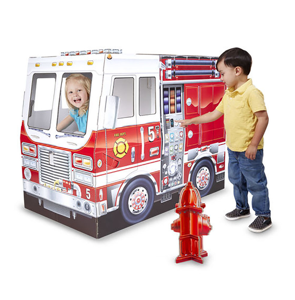Structure en carton camion de pompier 39x33x48