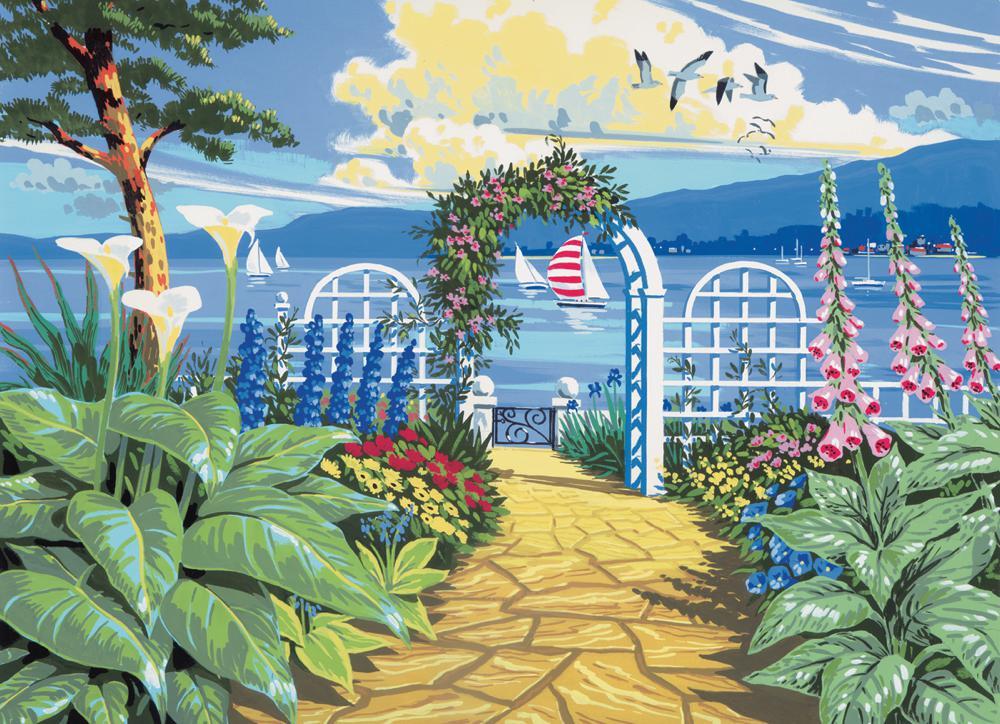 Peinture à numéros  Jardin vue sur la mer