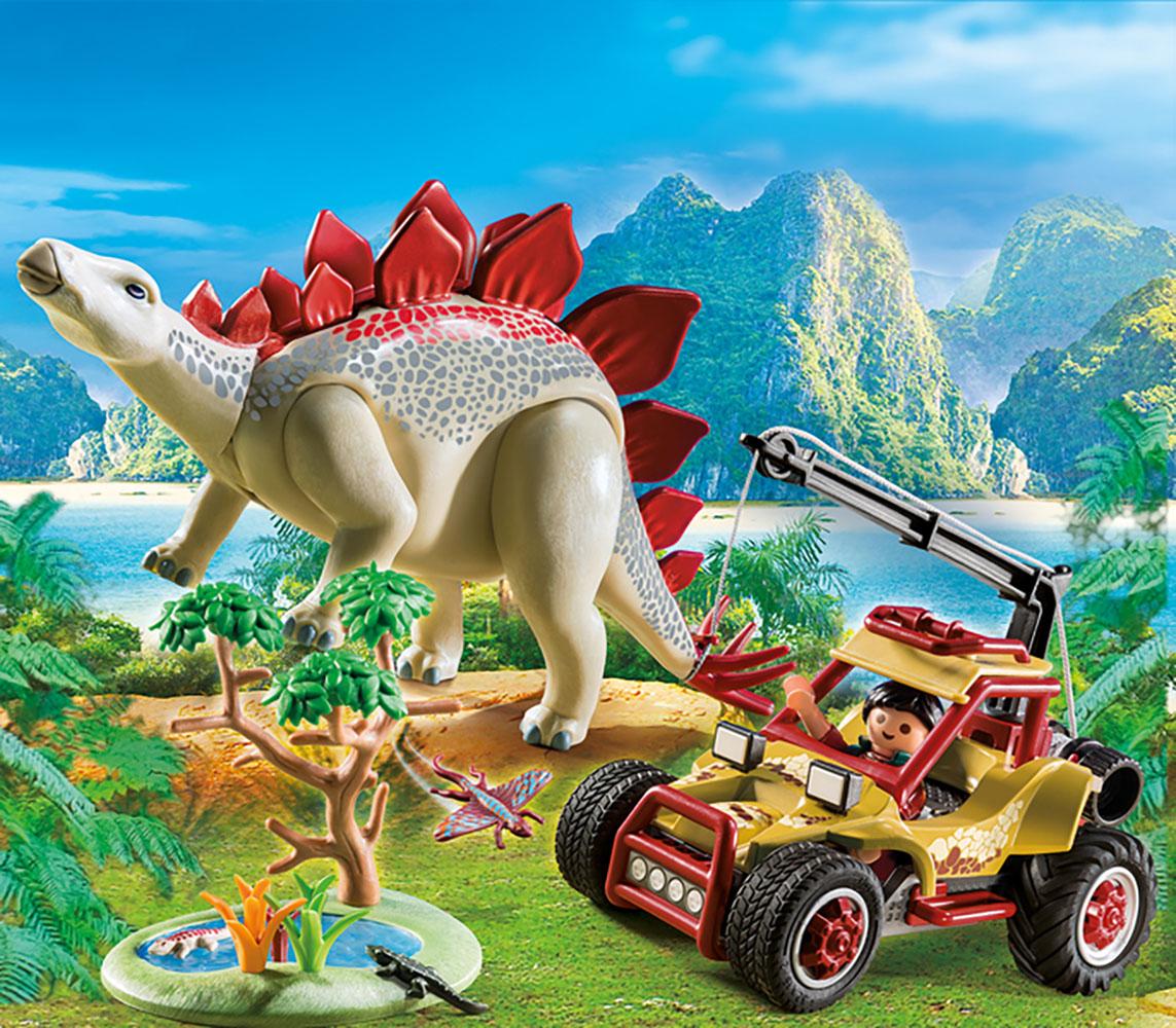 The Explorer - Explorateur avec véhicule et stégosaure