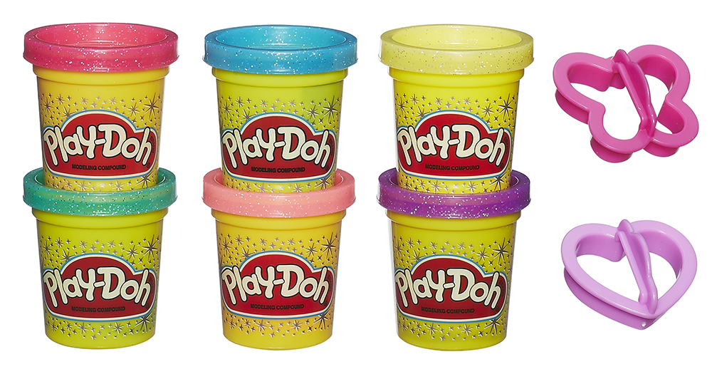 Play-Doh Ensemble de 6 pots de pâte à modeler scintillante
