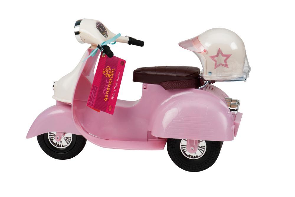 Scooter ivoire et rose pour poupée OG de 46 cm