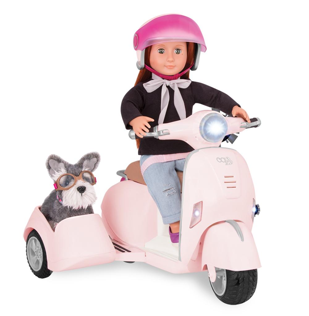 Scooter avec siège latéral Ride Along Scooter pour poupée OG de 46 cm