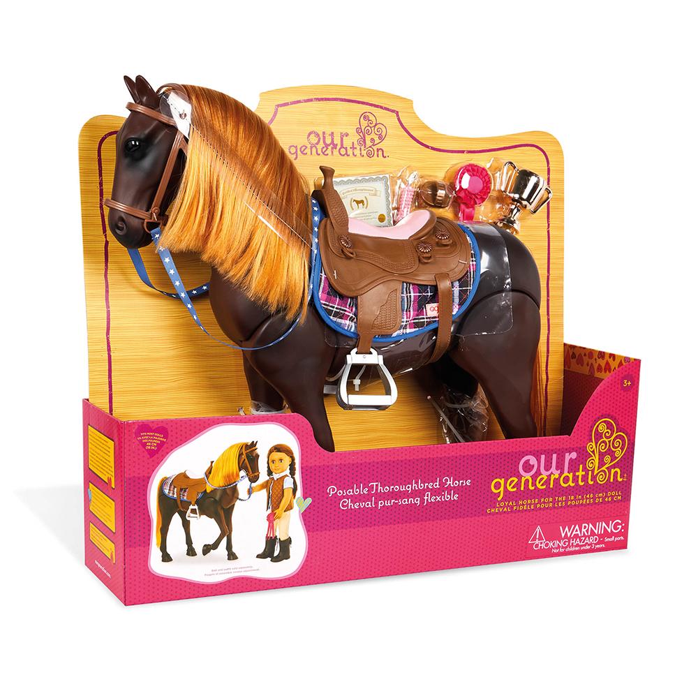 Cheval OG - Cheval Thoroughbred articulé pour poupée OG de 46 cm