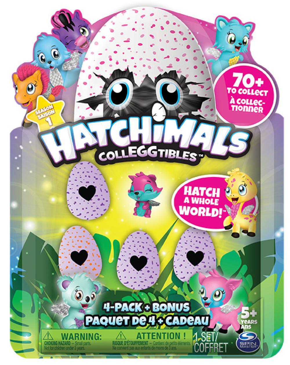 Hatchimals Ensemble de 4 + bonus Colleggtibles modèles assortis