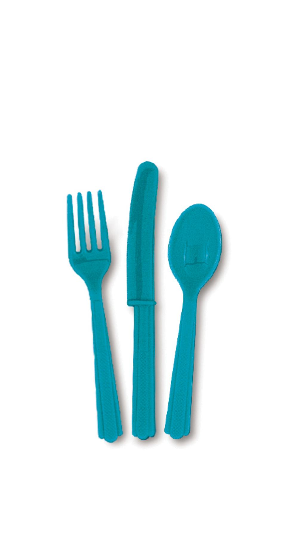 18 ustensiles assortis Turquoise