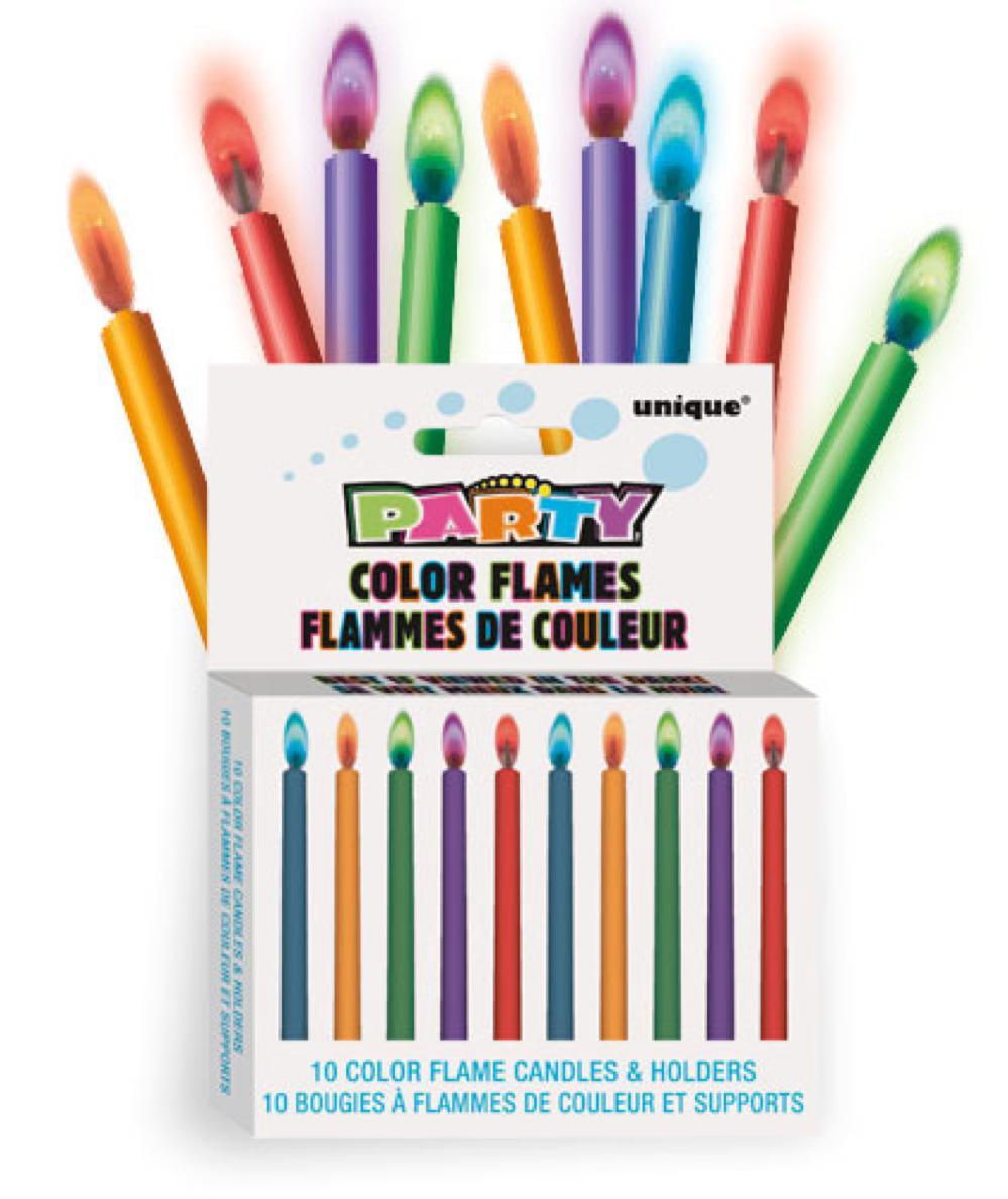 10 Chandelles flammes colorées