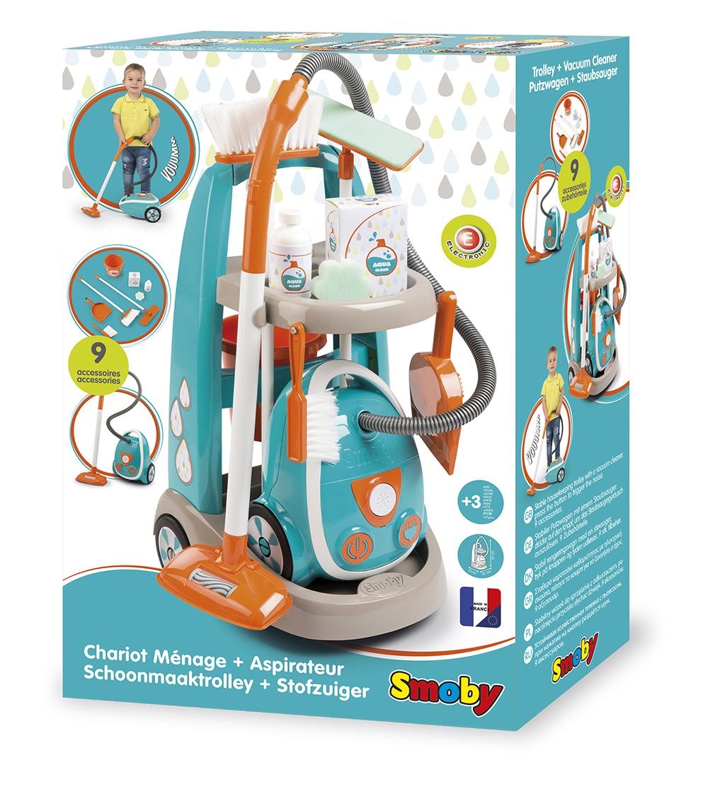 Smoby - Chariot ménager & aspirateur 9 pièces